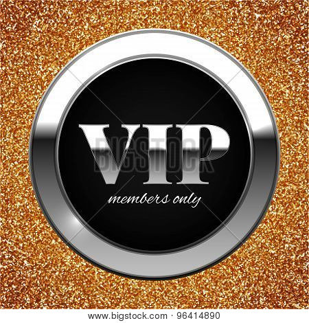 Gold And Silver Vip Vector Illustration On Shiny Glitter Background