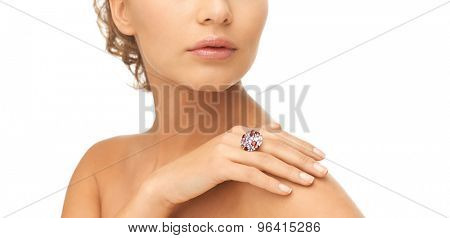 picture of beautiful woman with cocktail ring