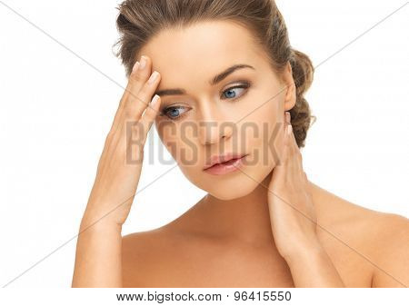 bride and wedding concept - depressed woman holding hands on her neck and forehead