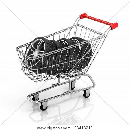 Automobile Wheels And Shopping Cart. Buying Auto Parts.