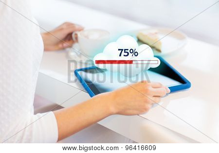people, technology and cloud computing concept - close up of young woman hands with tablet pc computer having lunch and sharing or uploading files at cafe or home