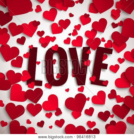 Valentine's Day Vector Illustration, Love Text On Background With Red Paper Hearts