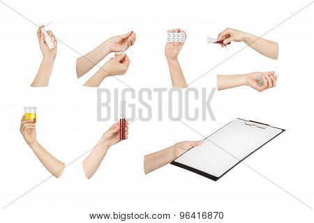 Collection Of Hands With Medical Tools Isolated On White