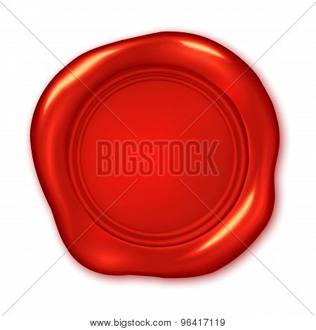 Vector Red Wax Seal Illustration Isolated On White