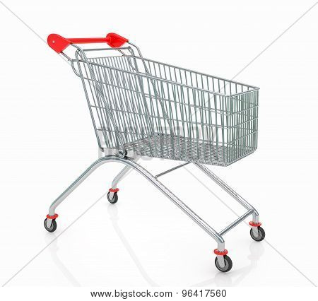 Empty  Shopping Trolley Isolated On White Background