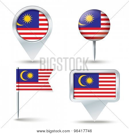Map pins with flag of Malaysia - vector illustration