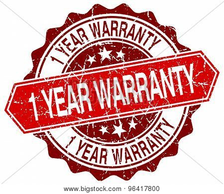 1 Year Warranty Red Round Grunge Stamp On White