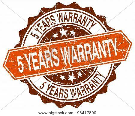 5 Years Warranty Orange Round Grunge Stamp On White