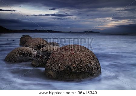 Moeraki Boulders at sunrise, South Island, New Zealand