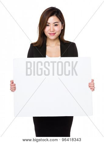 Asain businesswoman show with the blank placard