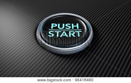 Push To Start Carbon Fibre Button