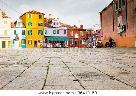 Venice Landmark, Burano Island, Colorful Houses