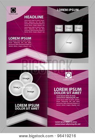 Purple brochure design vector eps, poster template