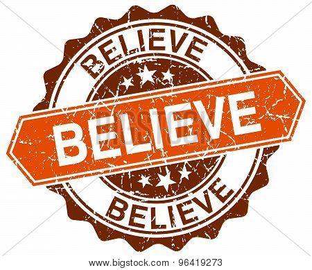 Believe Orange Round Grunge Stamp On White