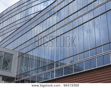 Abstract Blue Glass Facade Modern Business Center Building