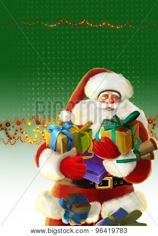 happy cartoon santa illustration