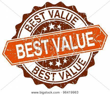 Best Value Orange Round Grunge Stamp On White