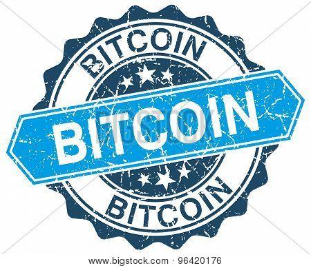 Bitcoin Blue Round Grunge Stamp On White