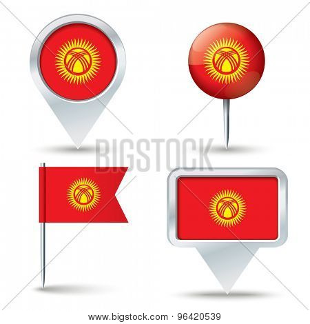 Map pins with flag of Kyrgyzstan - vector illustration