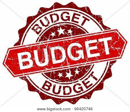 Budget Red Round Grunge Stamp On White