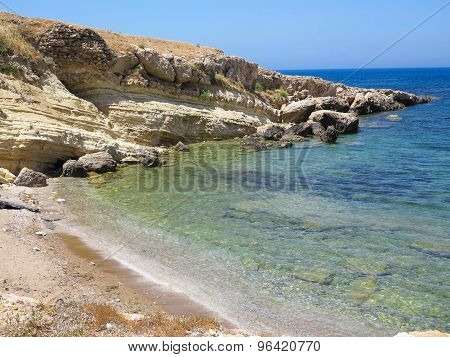 Blue Sea View In Sunny Summer Day Transparent Water And Rock