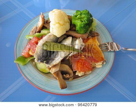 Greek Fast Food - Fish, Broccoli, Mushrooms On Plate
