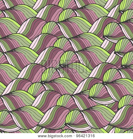 Seamless Abstract Hand-drawn Pattern, Waves Background. Can Be Used For Wallpaper, Pattern Fills, We