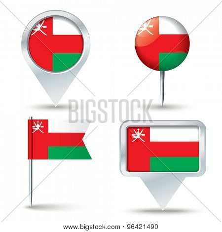 Map pins with flag of Oman - vector illustration