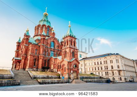 Uspenski Cathedral, Helsinki At Summer Sunny Day. Red Church