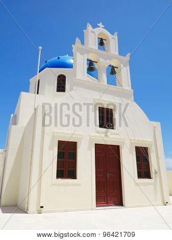 Santorini Island Greece - Beautiful Typical House With White Walls And Belfry