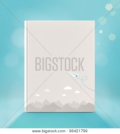 Blank Vertical Book Cover, On A Light Blue Backgraund