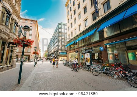 View of Kluuvikatu street in HELSINKI, FINLAND. Parked Bicycles