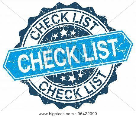 Check List Blue Round Grunge Stamp On White