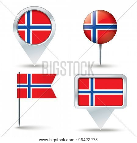 Map pins with flag of Svalbard - vector illustration