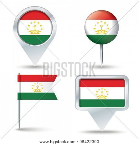 Map pins with flag of Tajikistan - vector illustration