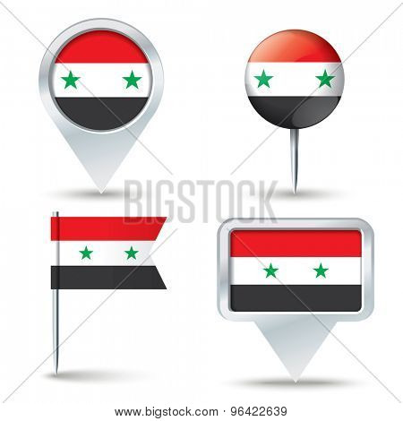 Map pins with flag of Syria - vector illustration
