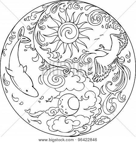 Coloring Tao Mandala Diksha