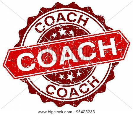 Coach Red Round Grunge Stamp On White