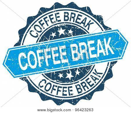 Coffee Break Blue Round Grunge Stamp On White