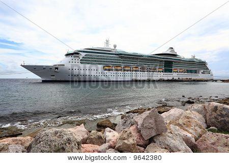 Caribbean Cruise Ship docked on the island of Curacao