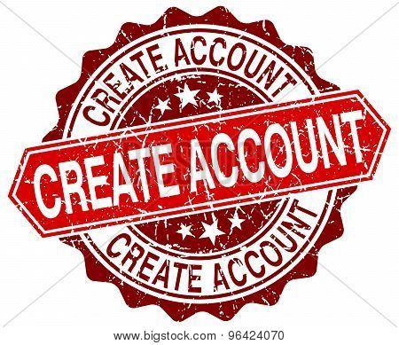 Create Account Red Round Grunge Stamp On White