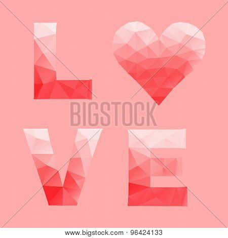 Love And Heart By Abstract Geometric Triangle In Low Poly Style