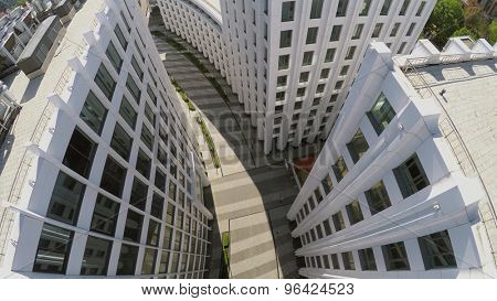 MOSCOW - MAY 20, 2015: Path between buildings of business complex Aquamarine at spring sunny day. Aerial view