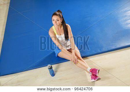 Sporty woman making a break