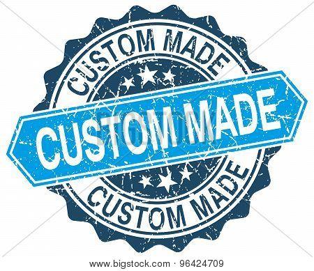 Custom Made Blue Round Grunge Stamp On White
