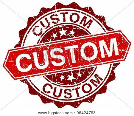 Custom Red Round Grunge Stamp On White
