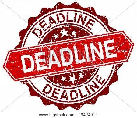 Deadline Red Round Grunge Stamp On White