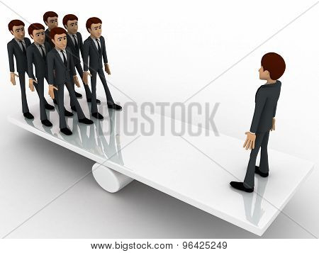 3D Business Man Standing On Seasaw To Create Balance Concept