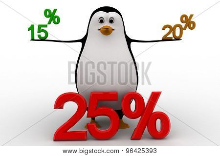 3D Penguin With 15 20 And 25 Percentage Discount Concept