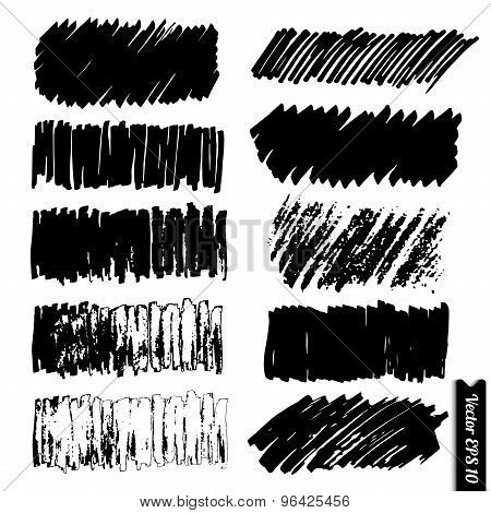 Vector Marker Lines Set. Hand Drawn Black Grunge Marker Backgrounds For Your Design.